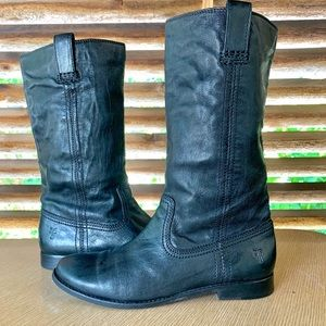 Frye Calfskin Black Leather Boots 8